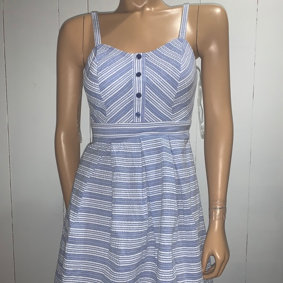 Blue and white-striped doll dress